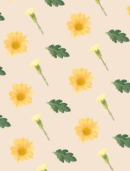 Творческий желтый образец цветка на пастельном фоне. минимальная концепция.