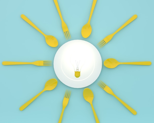 Creative of yellow light bulbs glowing on plate with spoons and forks on blue color. minim
