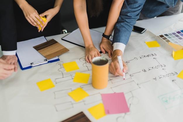 비즈니스 partnet 회의 워크숍과 창의력 브레인 스토밍 아이디어 개념