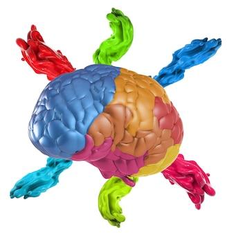 カラフルな脳を3dレンダリングする創造性の概念