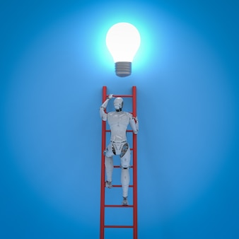 Creativity concept with 3d rendering robot climb red ladder to reach lightbulb