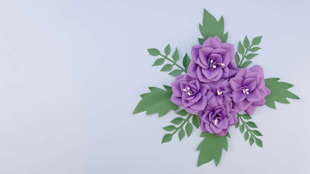 Creativity concept with purple flowers arrangement