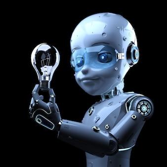 3dレンダリングのかわいい人工知能ロボットが電球を保持する創造性の概念