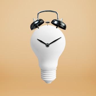 Концепции творчества с белой лампочкой и часами.