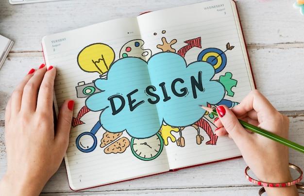 Идеи творчества дизайн мысли пузырь значок концепции