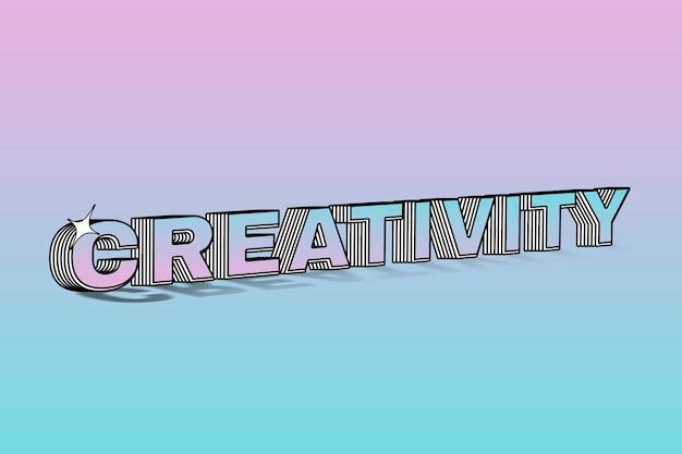 Tipografia a strati di creatività su sfondo colorato