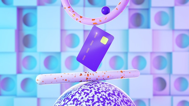 A credit card in a balanced position stands on abstract shapes in a pinkblue color scheme online