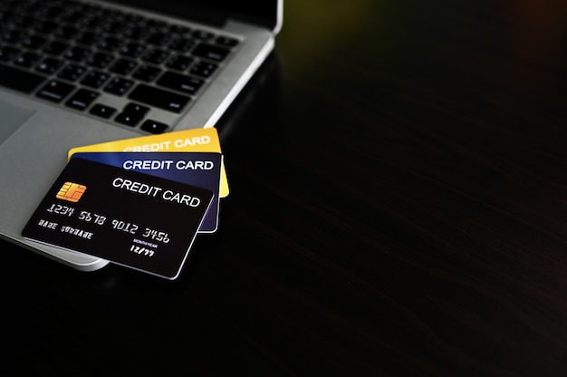 Credit card close up shot concept of online shopping,copy space