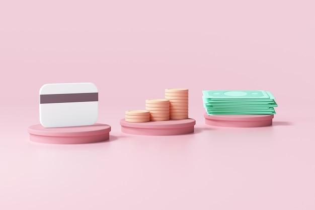 Credit card, coin stack and bundles cash on pink cylinder
