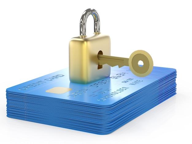 Концепция шифрования данных кредитной карты с 3d-рендерингом кредитных карт с замком и ключом