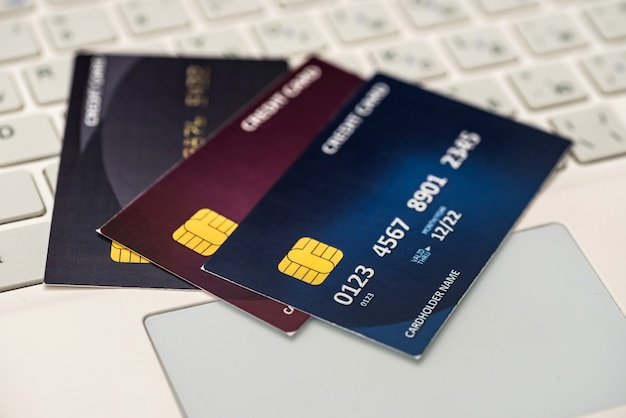 Credit card on laptop. shopping concept