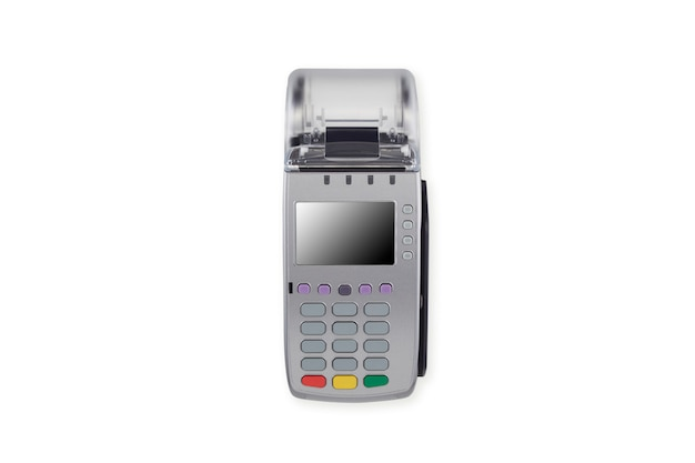 Credit card machine reader on white