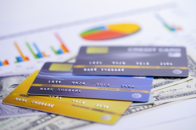 Credit card model on chart and graph spreadsheet paper.