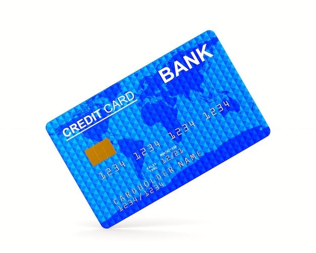 白い背景の上のクレジットカード。分離された3dイラスト