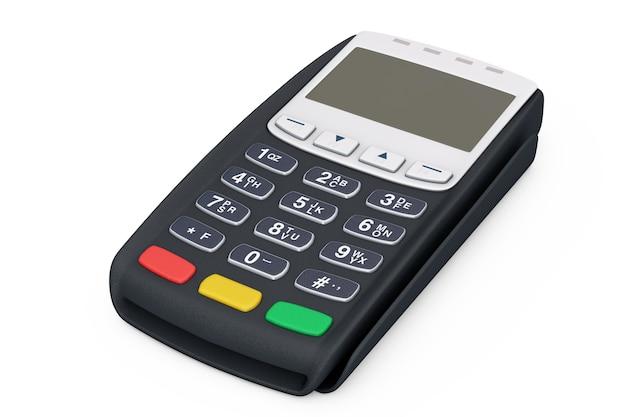 흰색 바탕에 신용 카드 결제 터미널입니다. 3d 렌더링