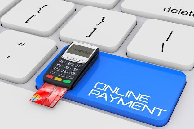 온라인 지불 서명 극단적인 근접 촬영 컴퓨터 키보드를 통해 신용 카드 지불 터미널. 3d 렌더링