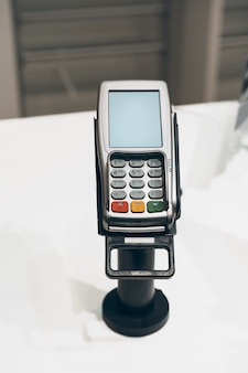 Credit card payment terminal in a shop