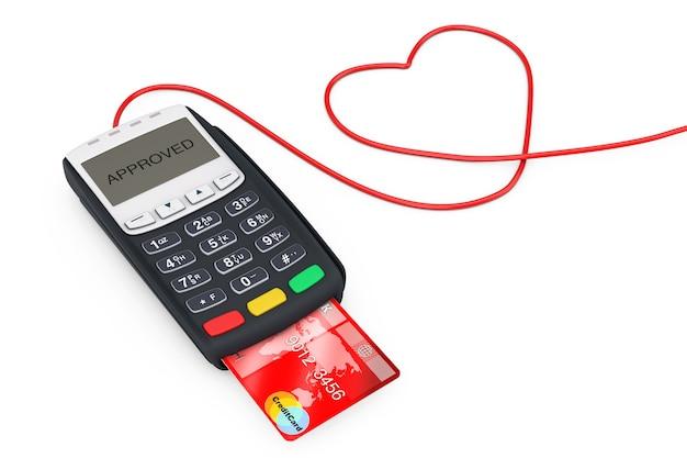 白い背景の上のハートの形でクレジットカード決済端末のワイヤー。 3dレンダリング