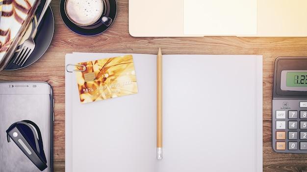 上からのクレジットカードの写真は本では空です。 3dレンダリングとイラスト。