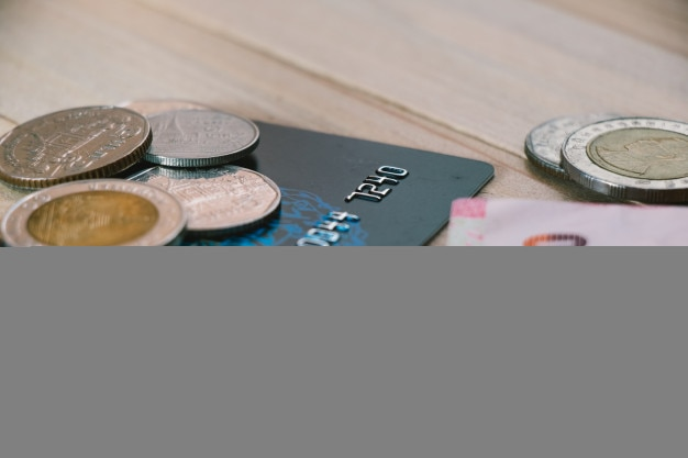 Credit card,  plastic money, put on smartphone.