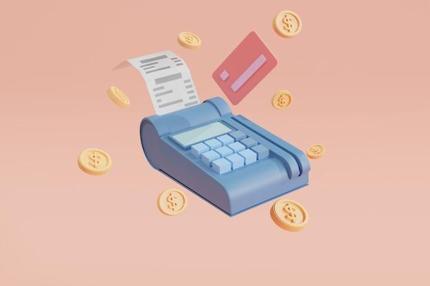 クレジットカードスワイプマシン(edc)支払いコンセプトクレジットカード、決済端末、背景に浮かぶコイン。お金を節約し、キャッシュレス社会。 3dイラスト