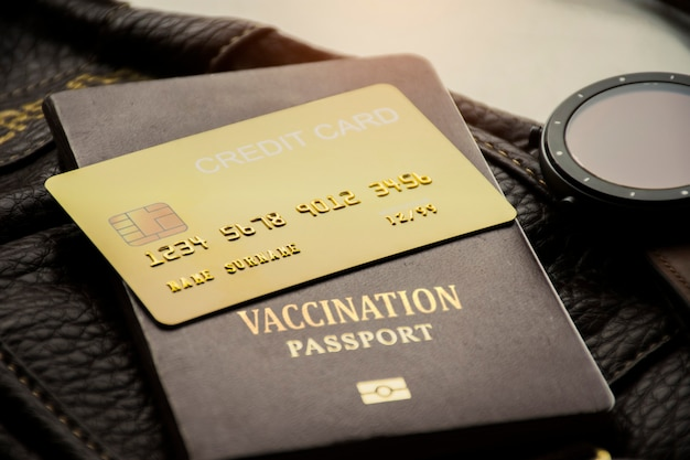 Credit card and vaccination passport for international travel