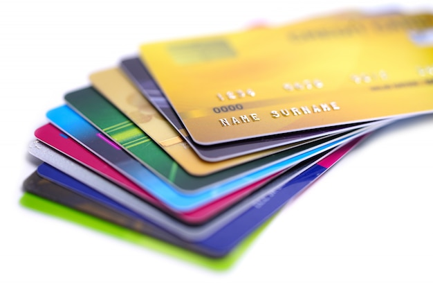 Credit card on white background.