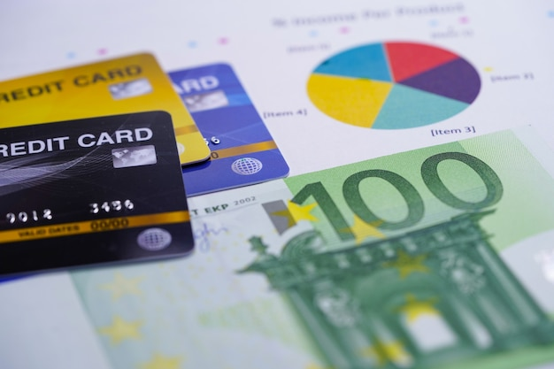 Credit card with euro banknotes on chart graph background.