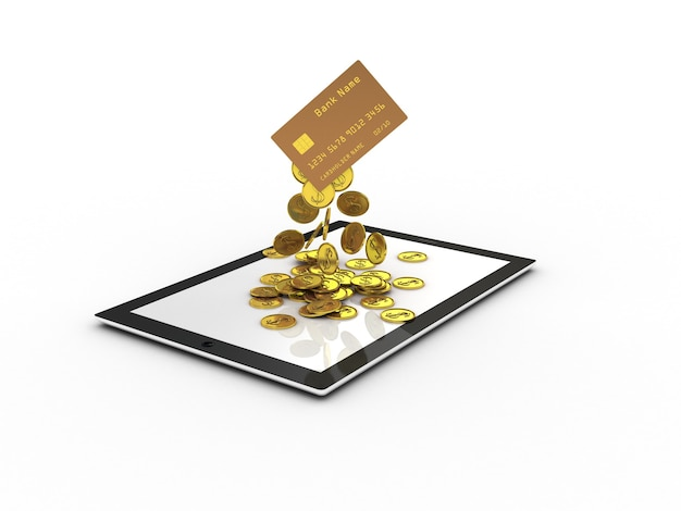 Credit card with falling gold coins on tablet screen