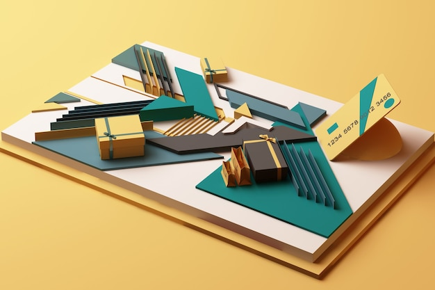 Credit card with gift box concept abstract composition of geometric shapes platforms in yellow and green tone. 3d rendering