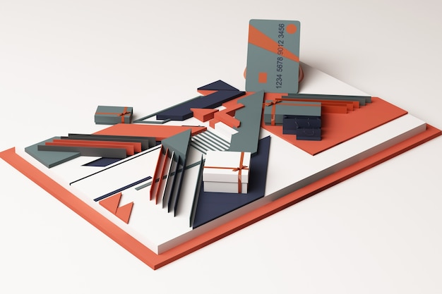 オレンジとブルーのトーンで幾何学的形状のプラットフォームのギフトボックスの概念の抽象的な構成を持つクレジットカード。 3dレンダリング