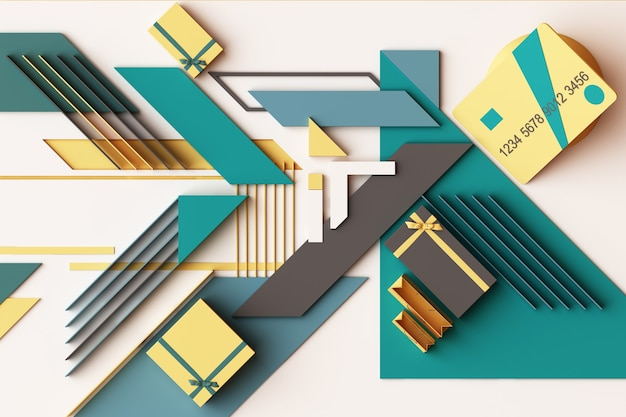 黄色と緑のトーンで幾何学的形状のプラットフォームのギフトボックスの概念の抽象的な構成を持つクレジットカード。 3dレンダリング