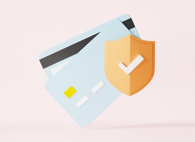 자물쇠 모양의 아이콘이 있는 신용 카드 잠긴 은행 카드 보안 거래 보호 3d 렌더링