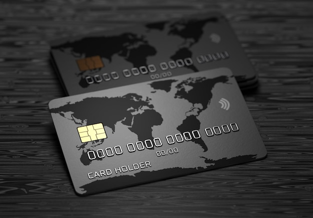 Credit card with world map on a dark wooden background. payment system. online payments. 3d render.