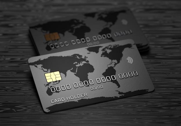 Кредитная карта с картой мира на темном деревянном фоне. система оплаты. онлайн-платежи. 3d визуализация.