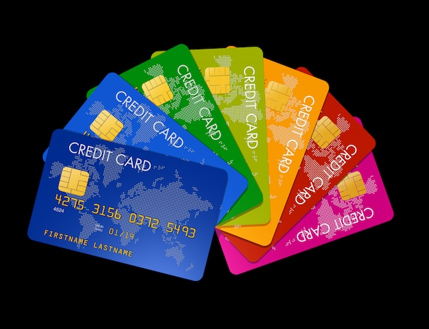 Credit cards group making a color
