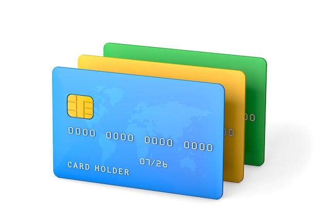 白い背景で隔離のクレジットカード。 3dレンダリング