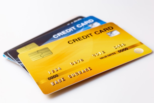Credit cards mockup on white background.