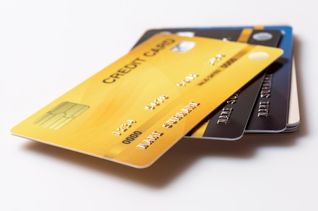 Credit cards on white