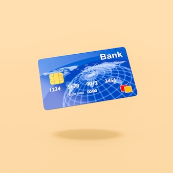 Credit or debit card on yellow background