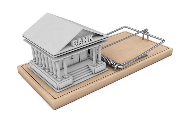 Концепция кредитного риска. здание банка над деревянной мышеловкой на белом фоне. 3d-рендеринг.