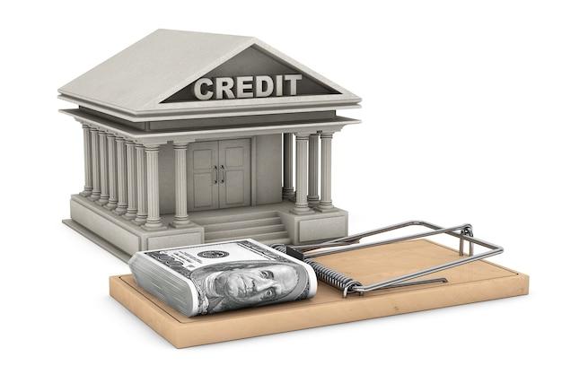 Концепция кредитного риска. мышеловка с деньгами против здания банка на белом фоне. 3d рендеринг