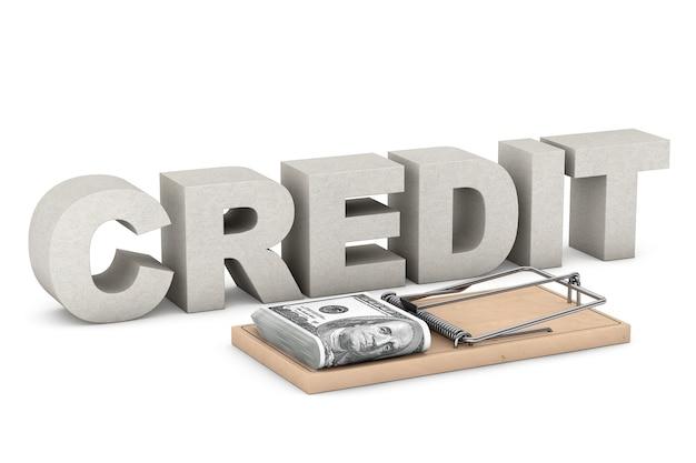 Концепция кредитного риска. мышеловка с деньгами против знака кредита на белой предпосылке. 3d рендеринг