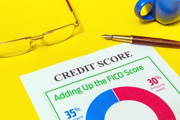 Credit score form on yellow office desk with glasses and pen