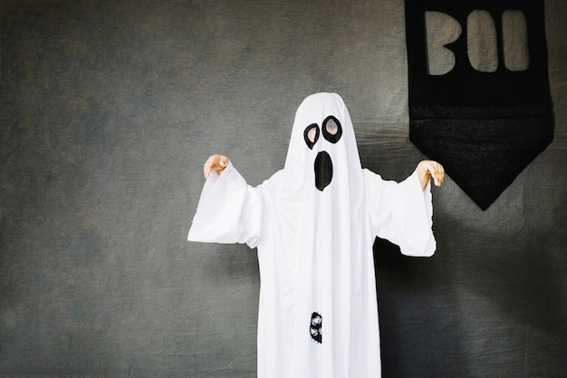 Creepy ghost and boo banner
