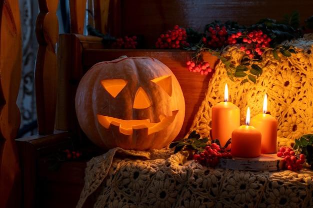 Creepy halloween card pumpkin jack lantern on wooden stairs