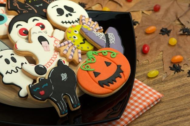 Creepy halloween cookies and candies