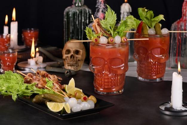 不気味なハロウィーンパーティーミチェラーダメキシコのブラッディマリー