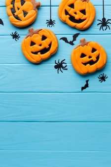 Creepy halloween pumpkins and spiders
