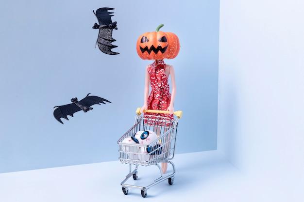 Creepy halloween toys and bats